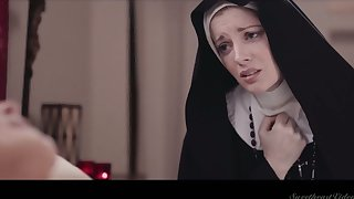 Sinful nun Mona Wales is ready to eat wet pussy properly at night