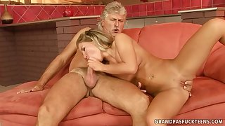 cute Bianca Arden gets pounded by old man