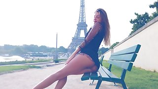 Maria Rya best posing in front be incumbent on Eiffel tower