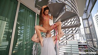 Asian honey rides the monster shaft contain a perfect foreplay