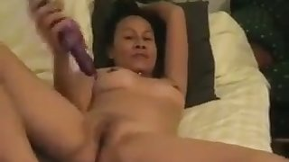 Petite mature Asian hoe loves to lady-love herself with her rabbit vibrator