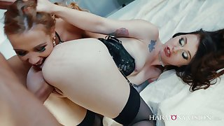 Zealous Misha Cross is not a greedy team a few and shares dick with chick for anal