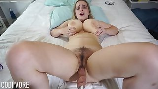 Huge-Boobed platinum-blonde girl, Codi Vore is opening far her gams broad open while using a fuckin' machine