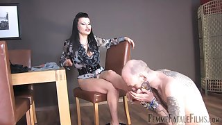 Miss Velour drills their way pussy nigh a dildo while a slave licks their way feet