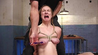Big-busted girl screams regarding pain during rough maledom BDSM