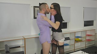 Transsexual Melanie Brooks shows dick upskirt and seduces young handsome gay blade